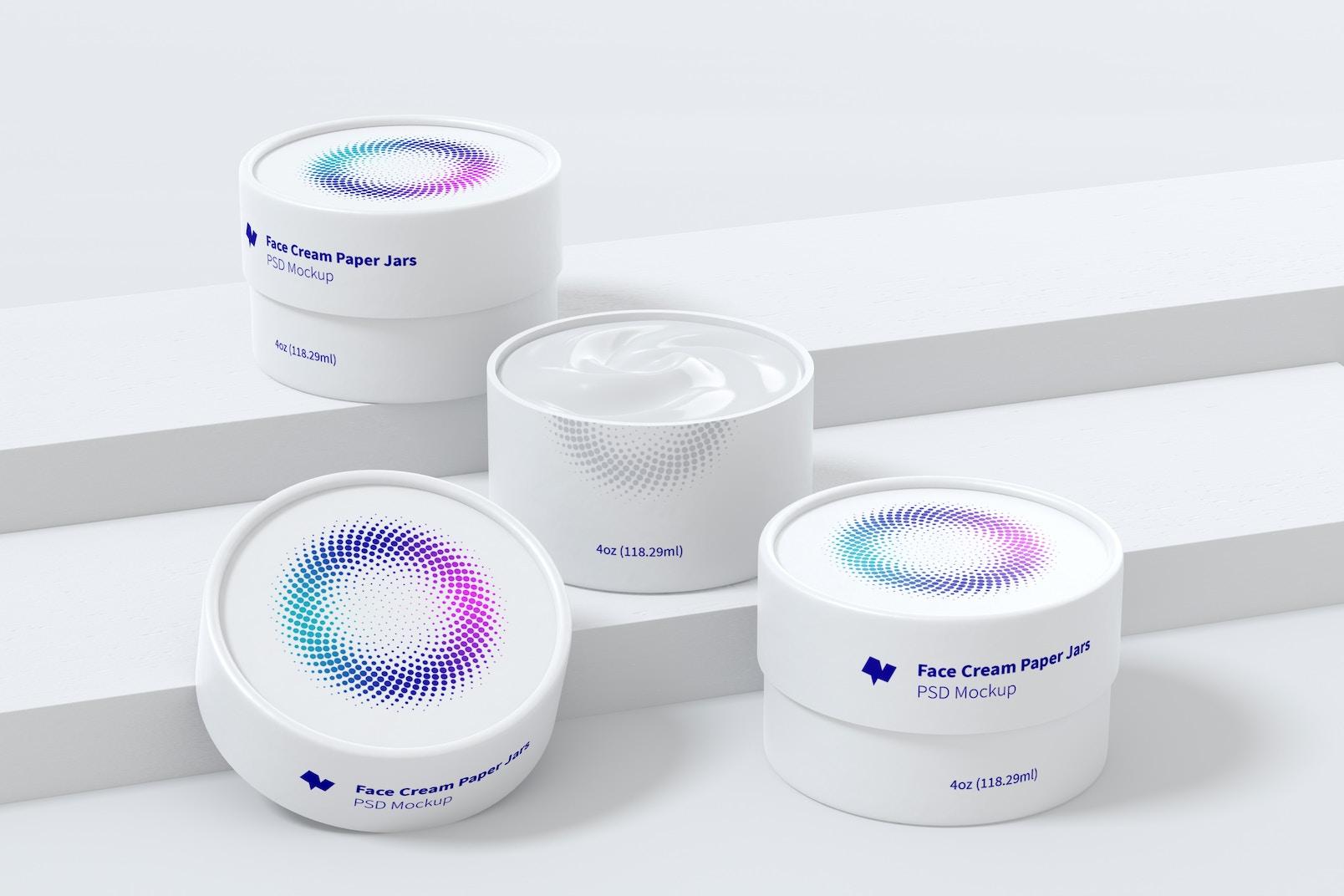 4 oz Face Cream Paper Jars Set Mockup