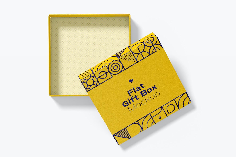 Flat Gift Box Mockup, Top View