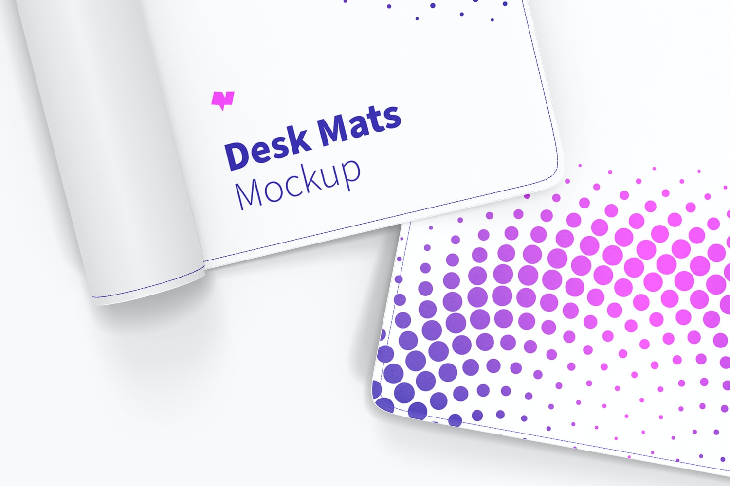 Desk Mats Mockup, Rolled-Up and Open