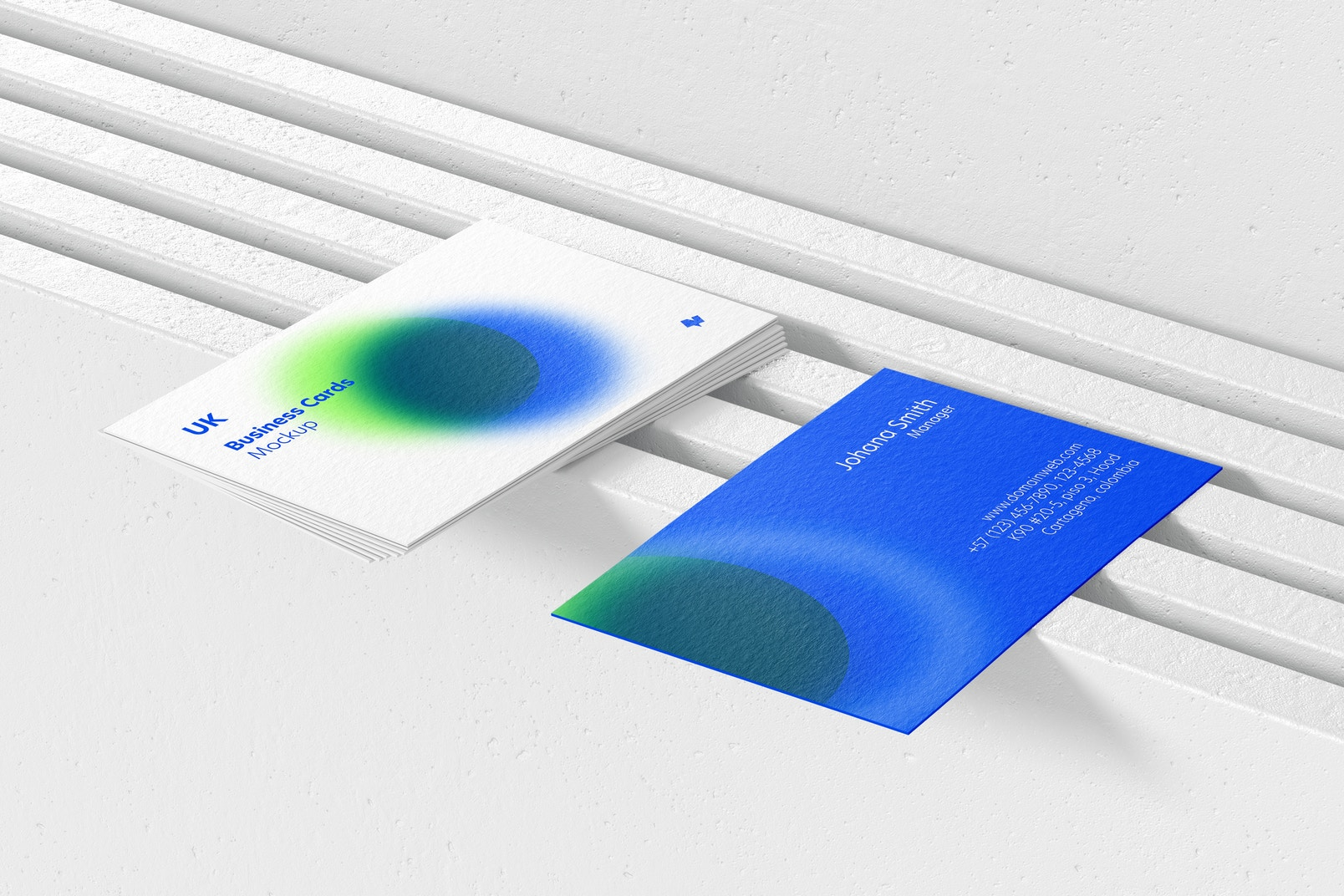UK Landscape Business Cards Mockup, Perspective View