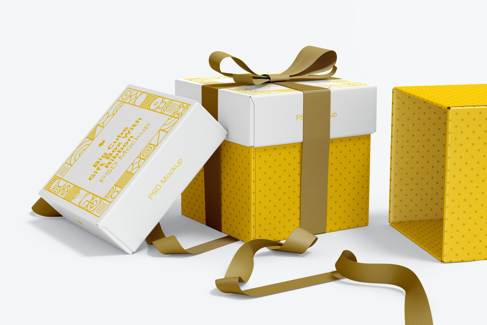 Big Cube Gift Boxes With Ribbon Mockup, Front View
