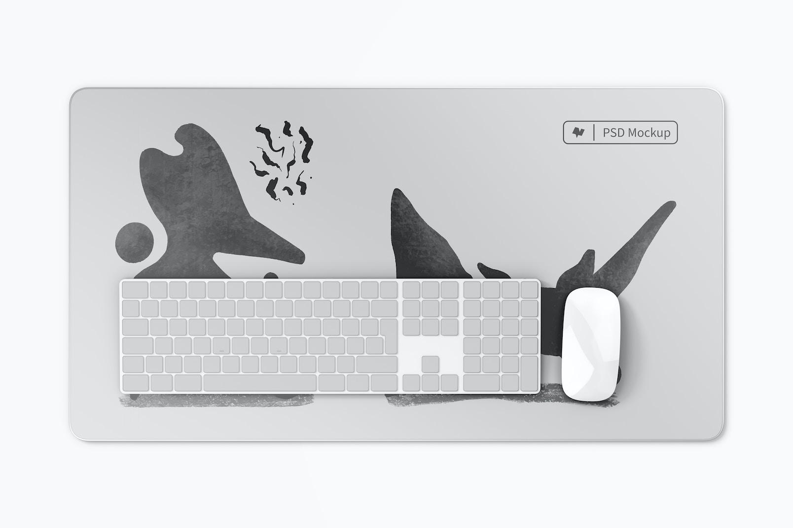 Aluminum Desk Mat Mockup, Top View