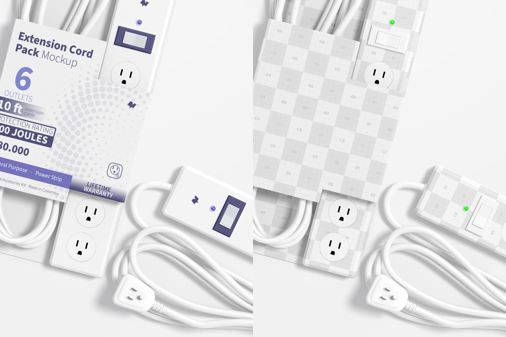 Extension Cord Pack Mockup, Close Up