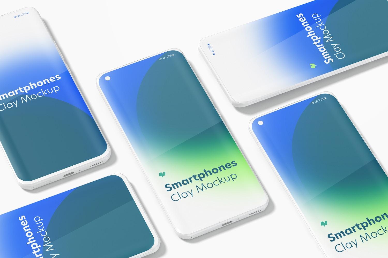 Clay Xiaomi Smartphones Set Mockup
