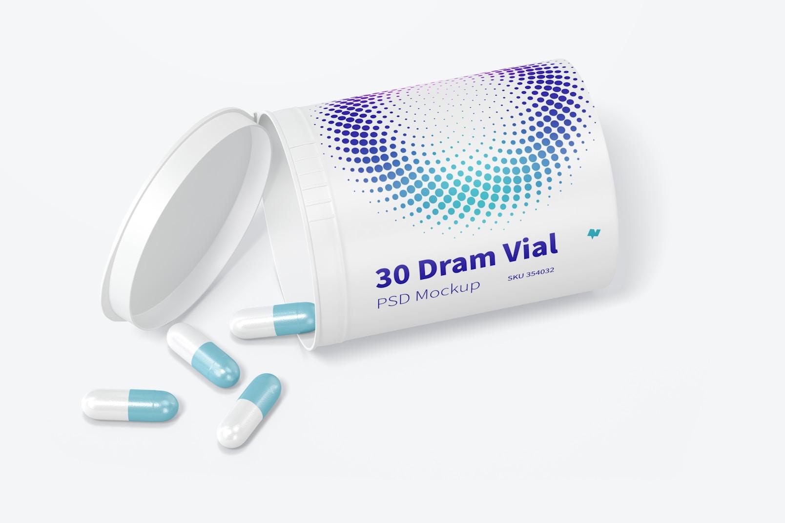 30 Dram Vial with Hinge Top Mockup, Opened