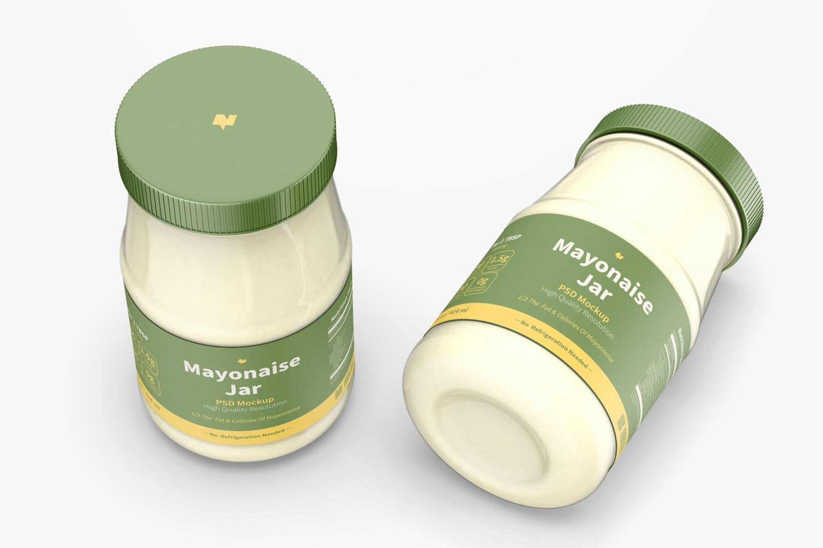 14 oz Mayonnaise Jars Mockup, Top View