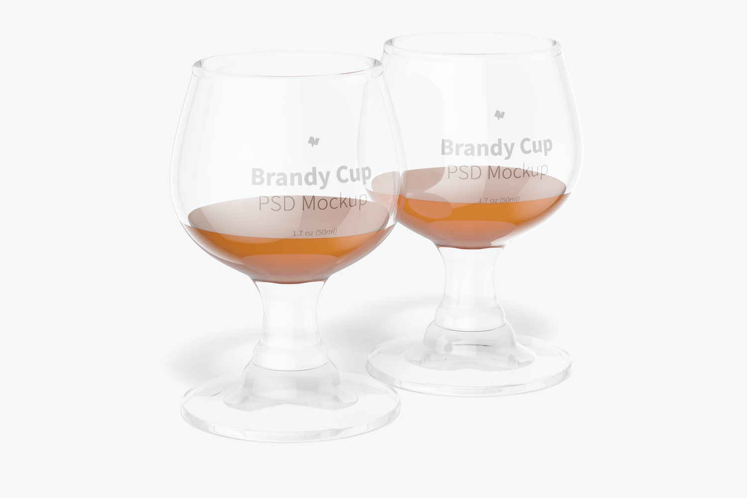 1.7 oz Glass Brandy Cups Mockup, Front View