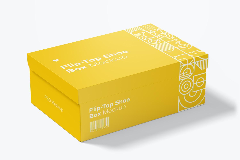 Flip-Top Shoe Box Mockup