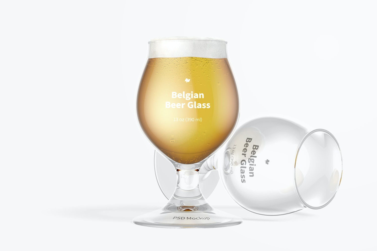 13 oz Belgian Beer Glass Mockup, Standing and Dropped