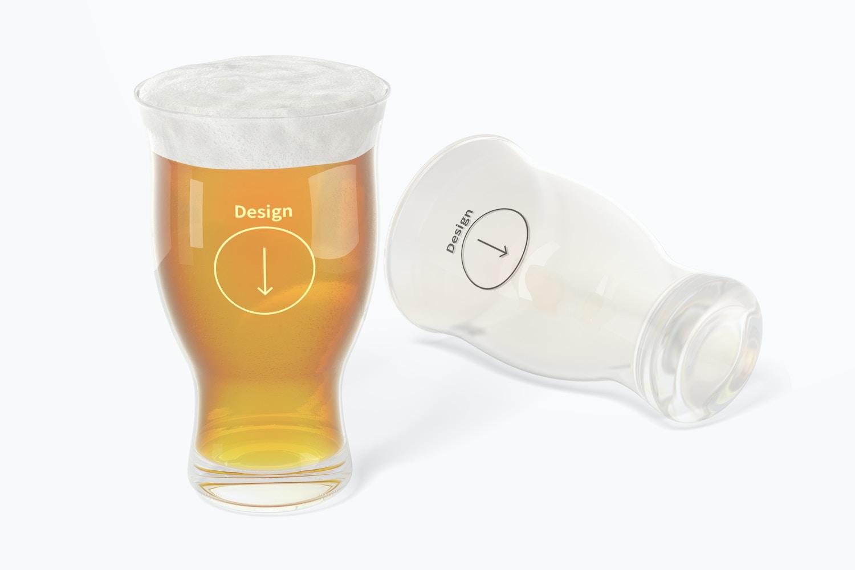 16 oz Pints Beer Glass Mockup, Dropped