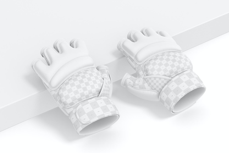 Taekwondo Gloves Mockup, Leaned