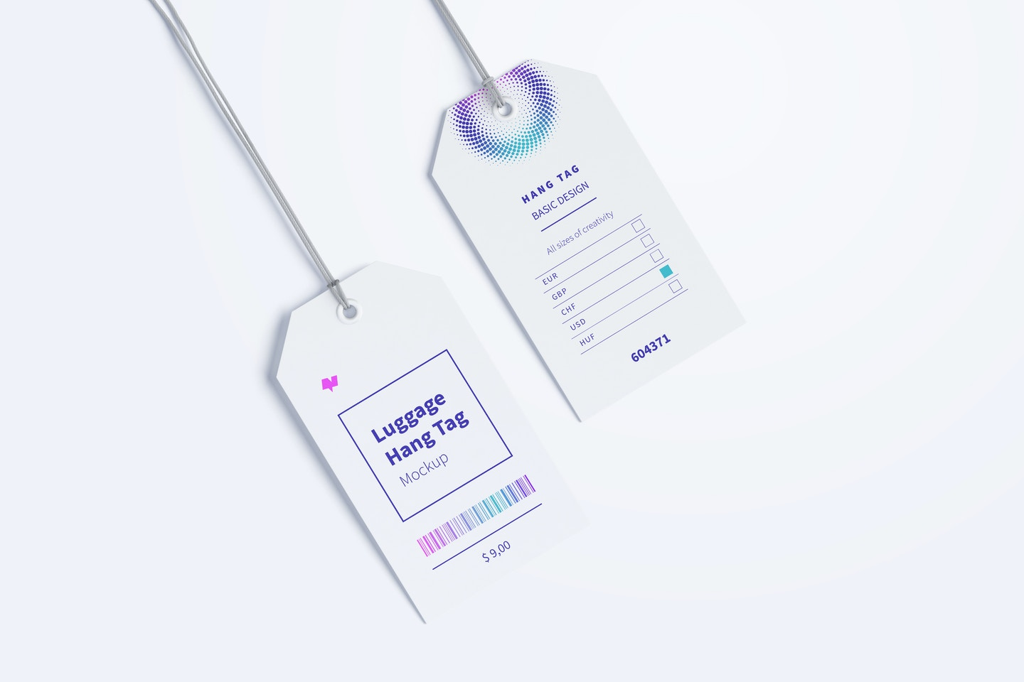 Luggage Hang Tags Mockup with String, Two-sided 02