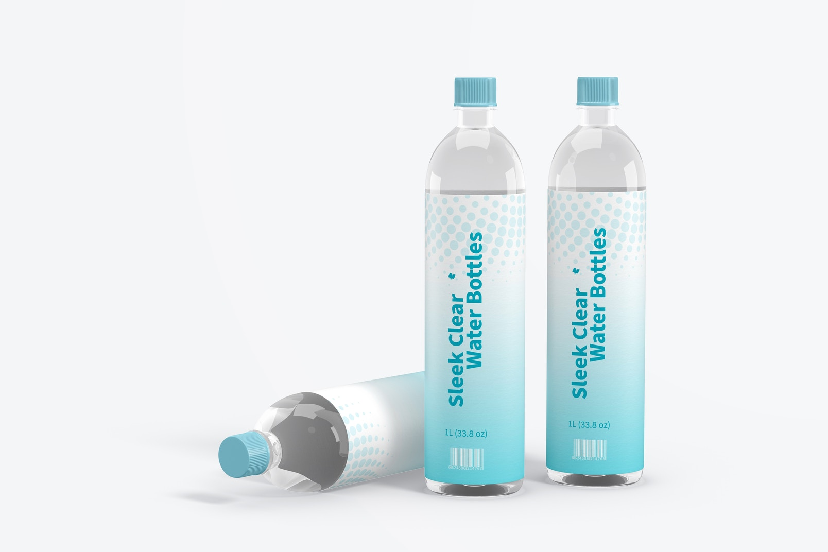 1L Sleek Clear Water Bottles Mockup, Standing and Dropped