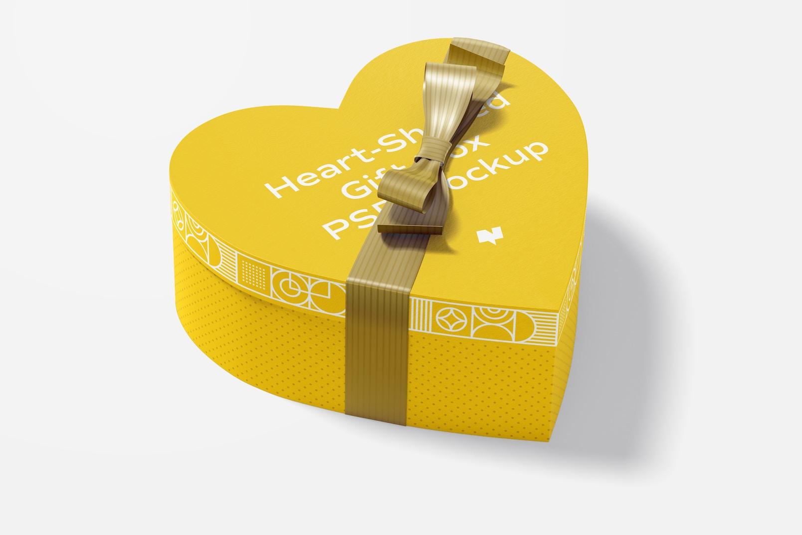 Heart-Shaped Gift Box With Paper Ribbon Mockup