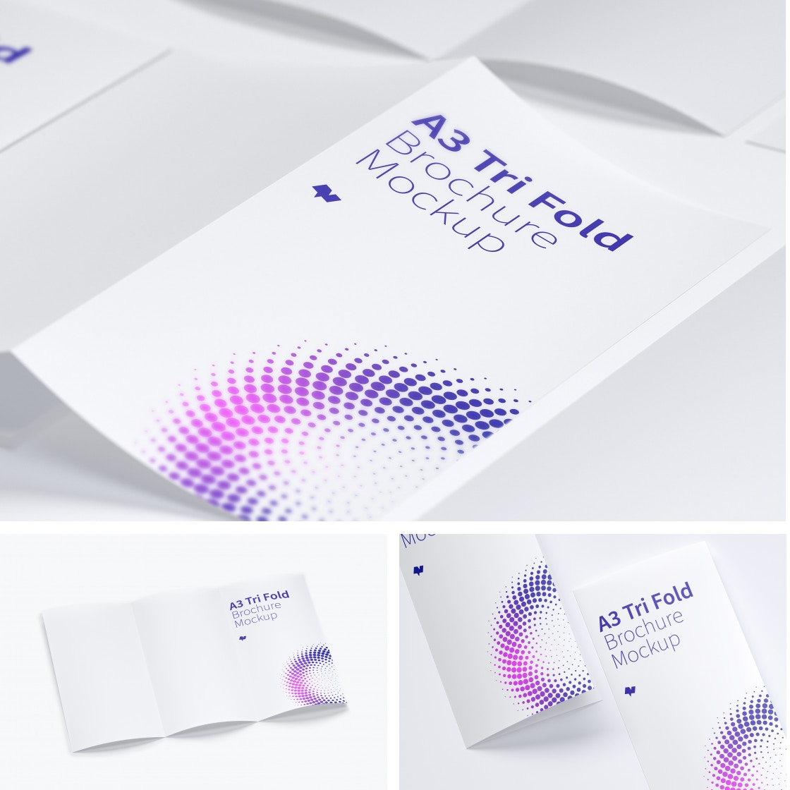 A3 Trifold Brochure Mockups by Original Mockups on Original Mockups