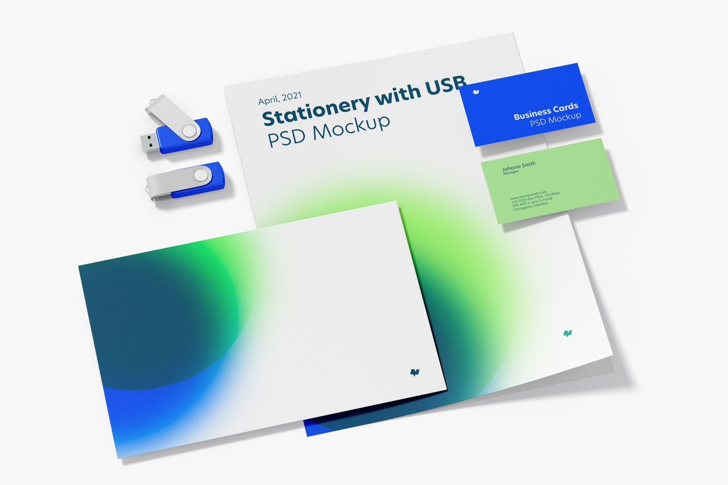 Stationery with USB Flash Drives Mockup, Perspective