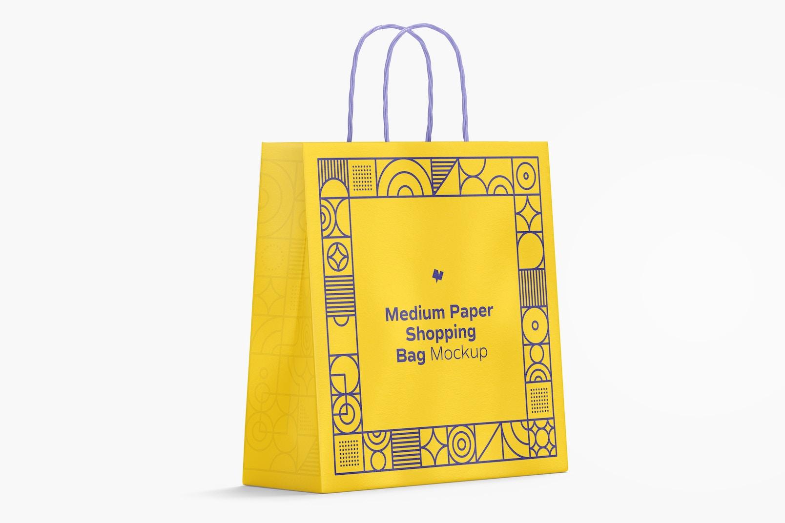 Medium Paper Shopping Bag Mockup, Left View