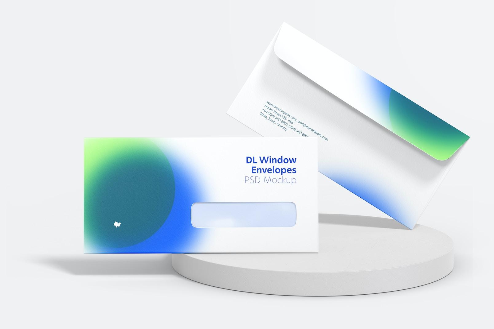 DL Window Envelopes Mockup, Front View