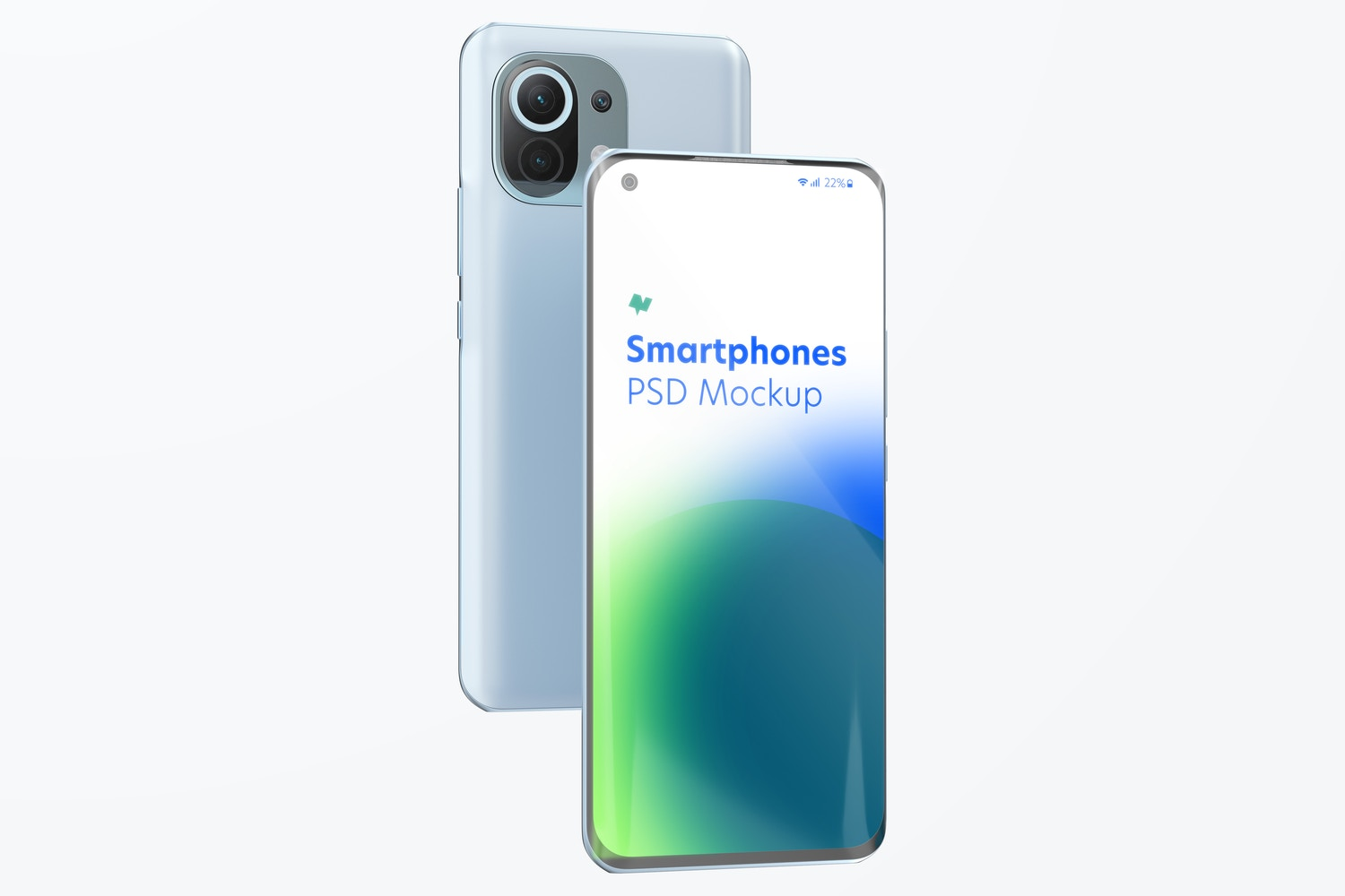Xiaomi Smartphones Mockup, Front and Back View