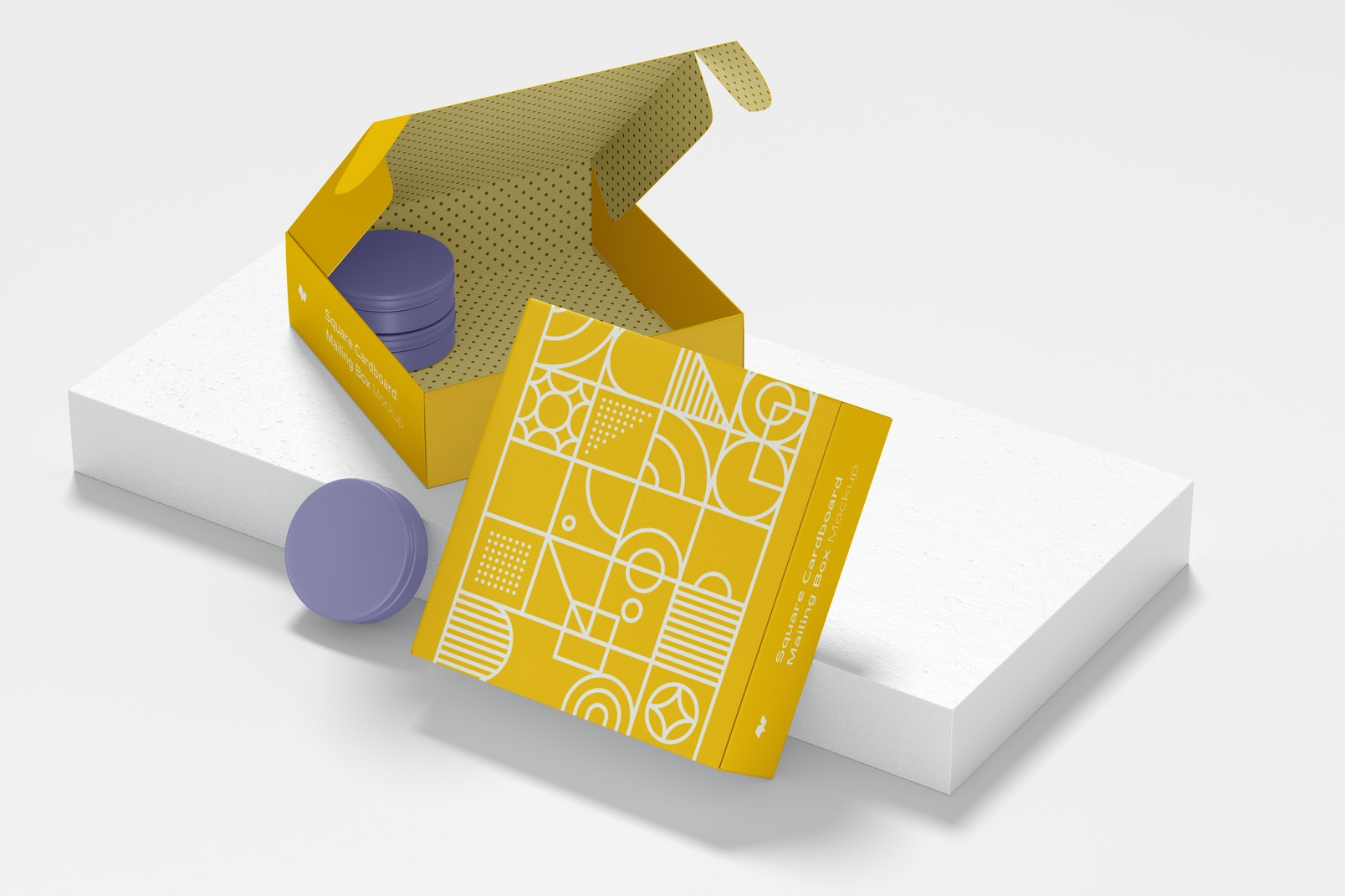 Square Cardboard Mailing Boxes Mockup with Stone