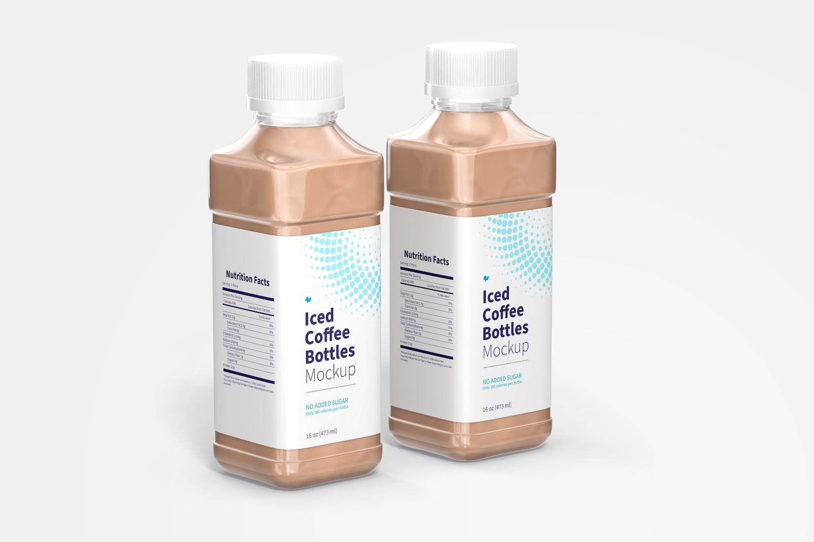 Maqueta de Botellas de 16 oz para Café Frío