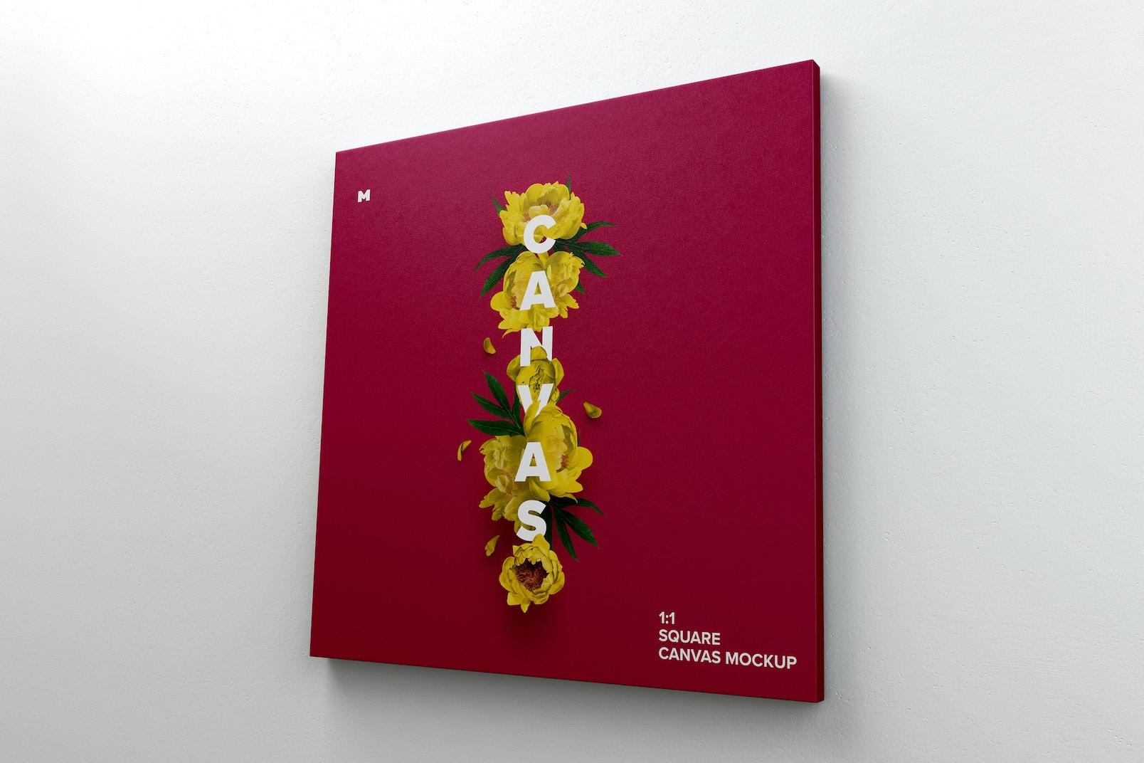 Vista perfecta de una Lona 1x1 colgada en la pared