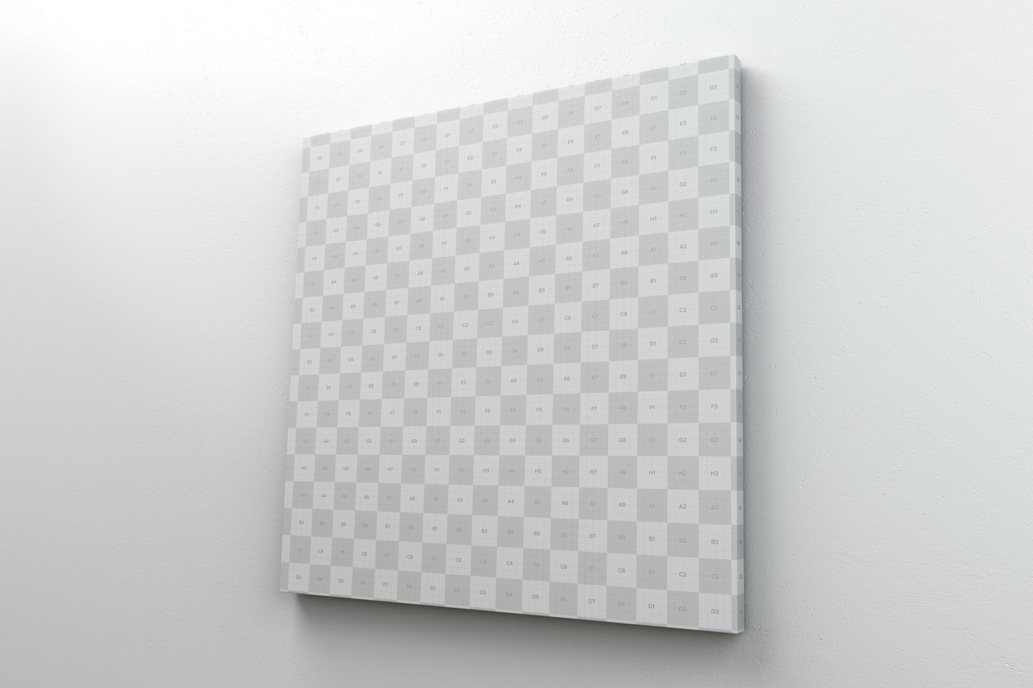 Square Canvas Mockup Hanging on Wall, Right View