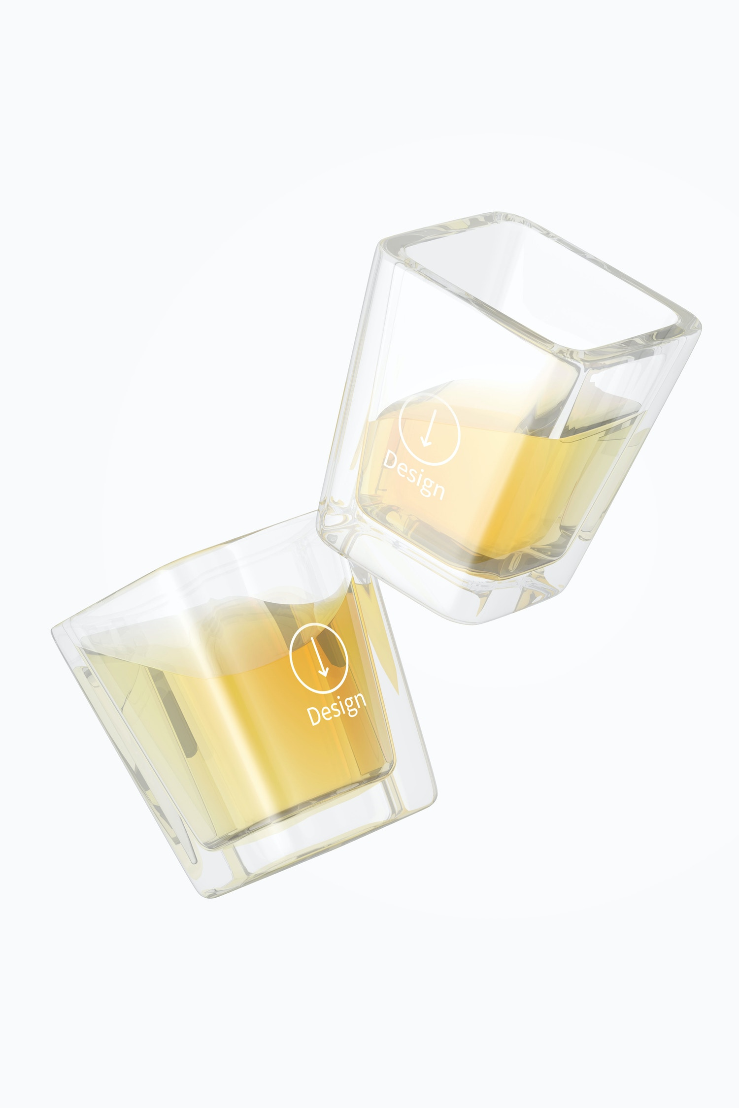 Square Shot Glasses Mockup, Floating