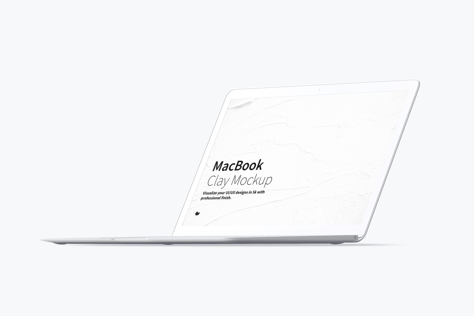 Clay MacBook Mockup, Front Right View