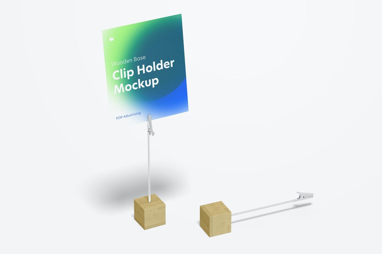 Wooden Base Photo Clip Holders Mockup