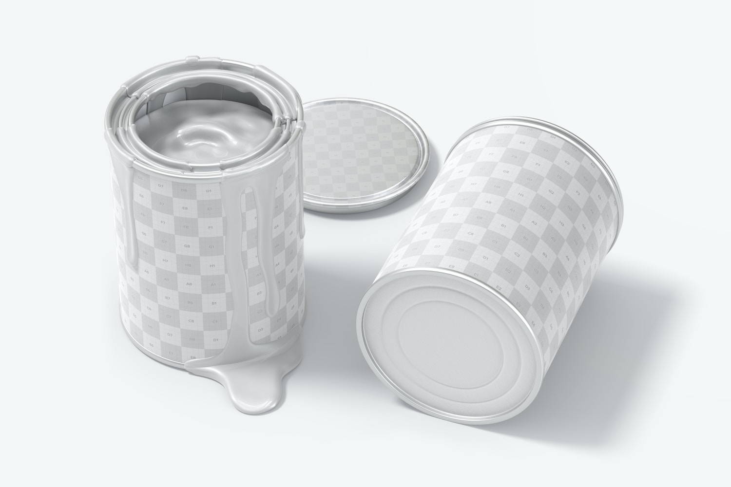 Paint Tin Cans Mockup, Perspective