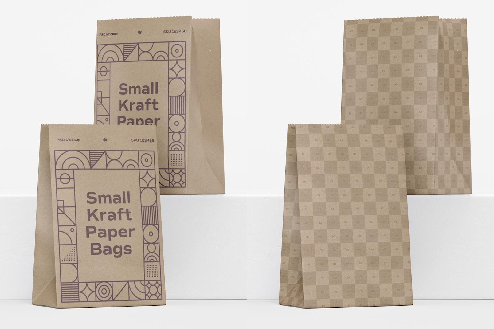 Small Kraft Paper Bags Mockup, Perspective