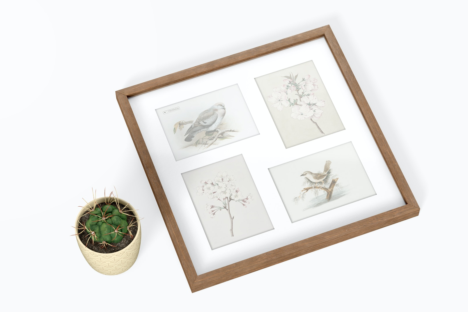 3:4 Multiple Photo Frame Mockup, Top View