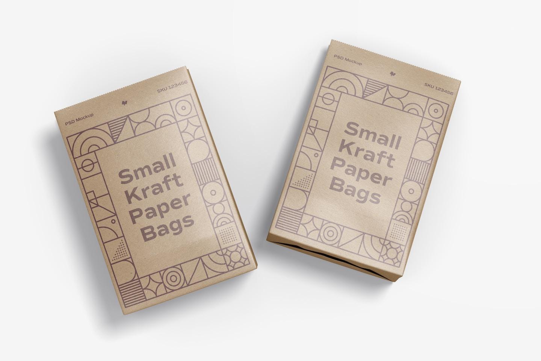 Small Kraft Paper Bags Mockup, Top View