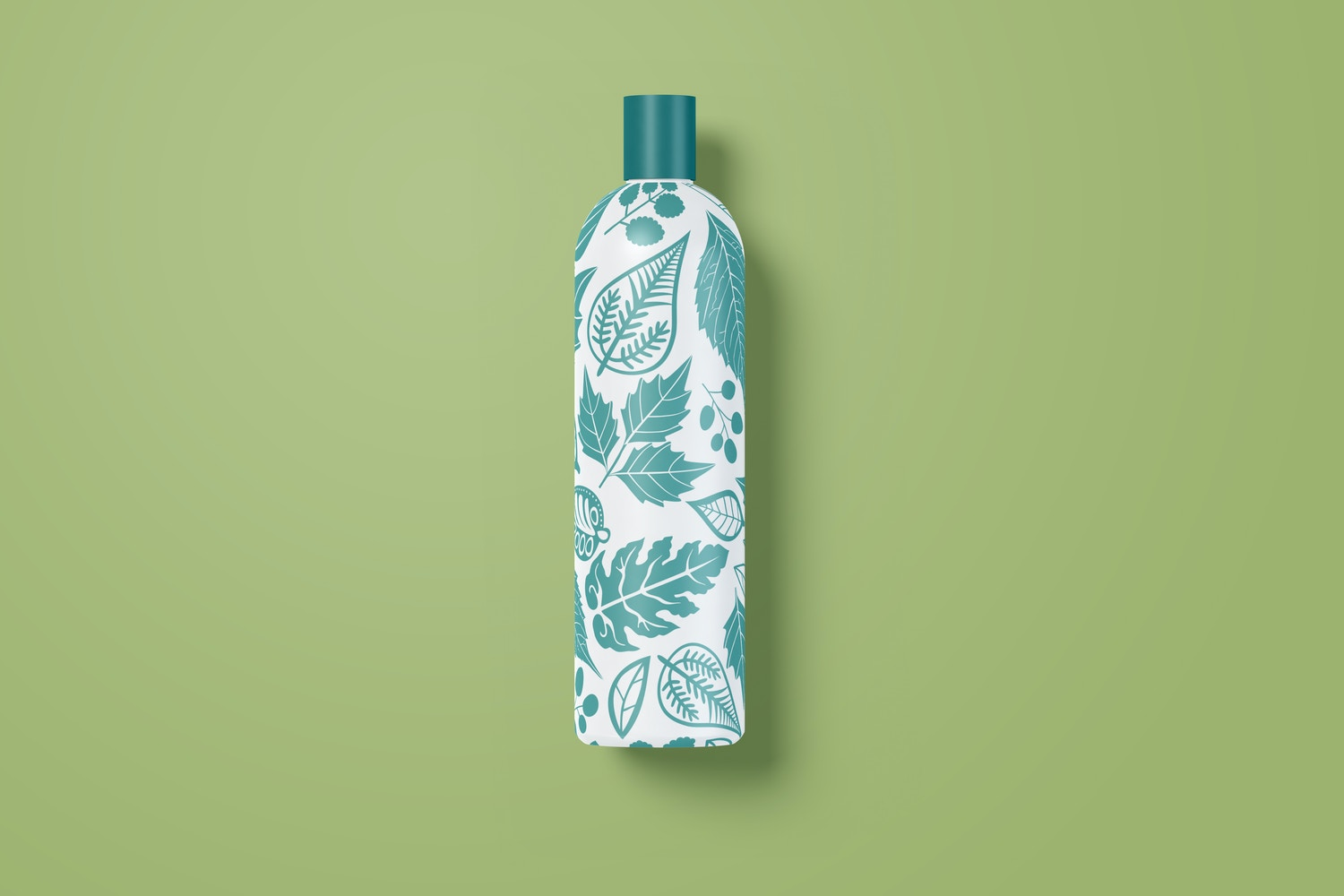 8 oz / 240 ml Cosmo Round Shape Cosmetic Bottle Mockup with Disc Cap in Front View