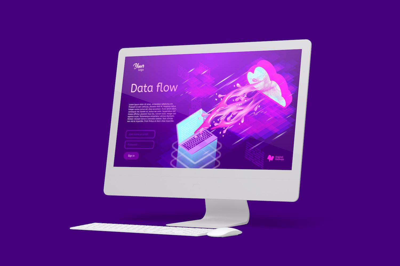 """Maqueta de iMac 27"""" Multicolor, Vista Derecha"""