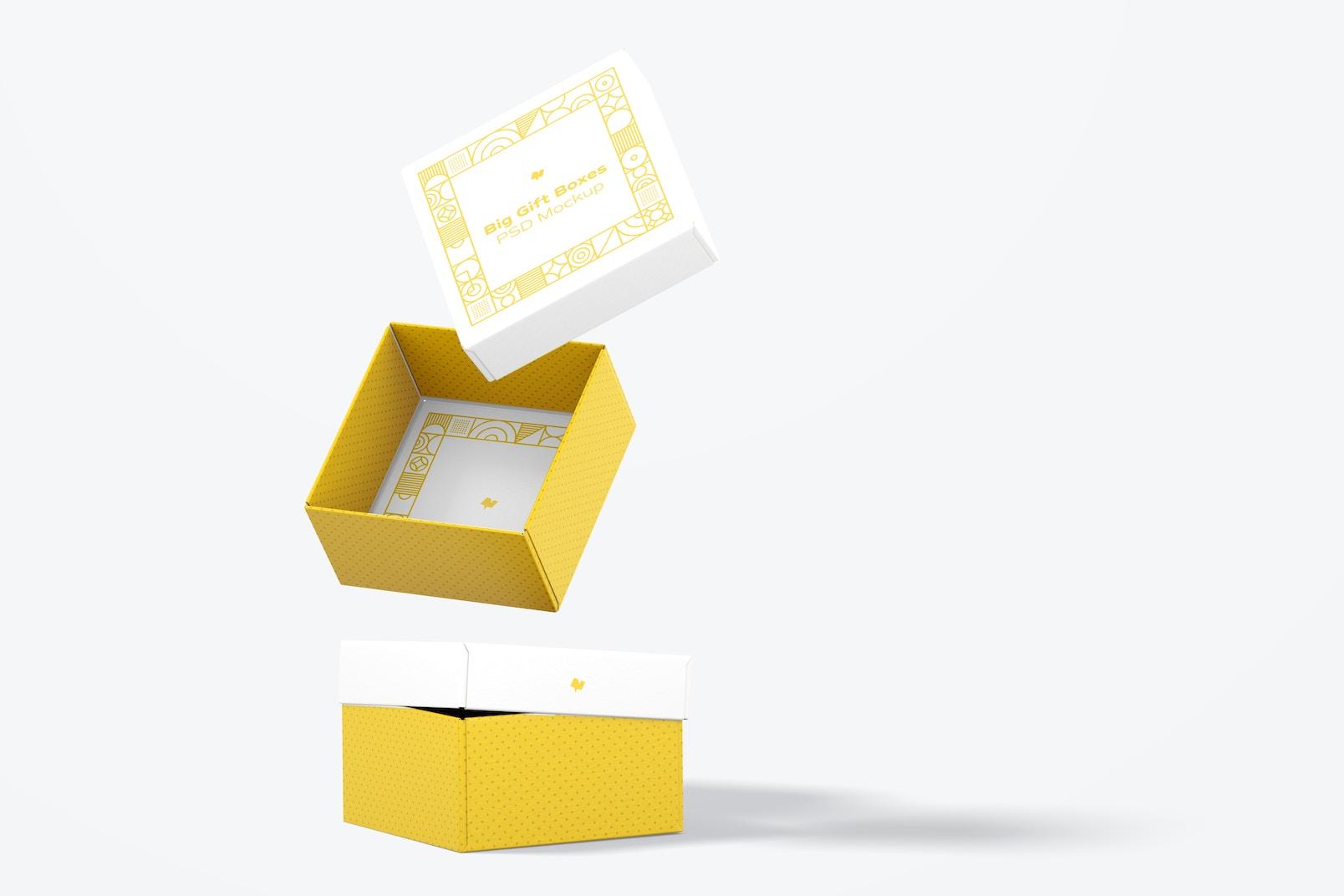Big Gift Boxes Mockup, Falling