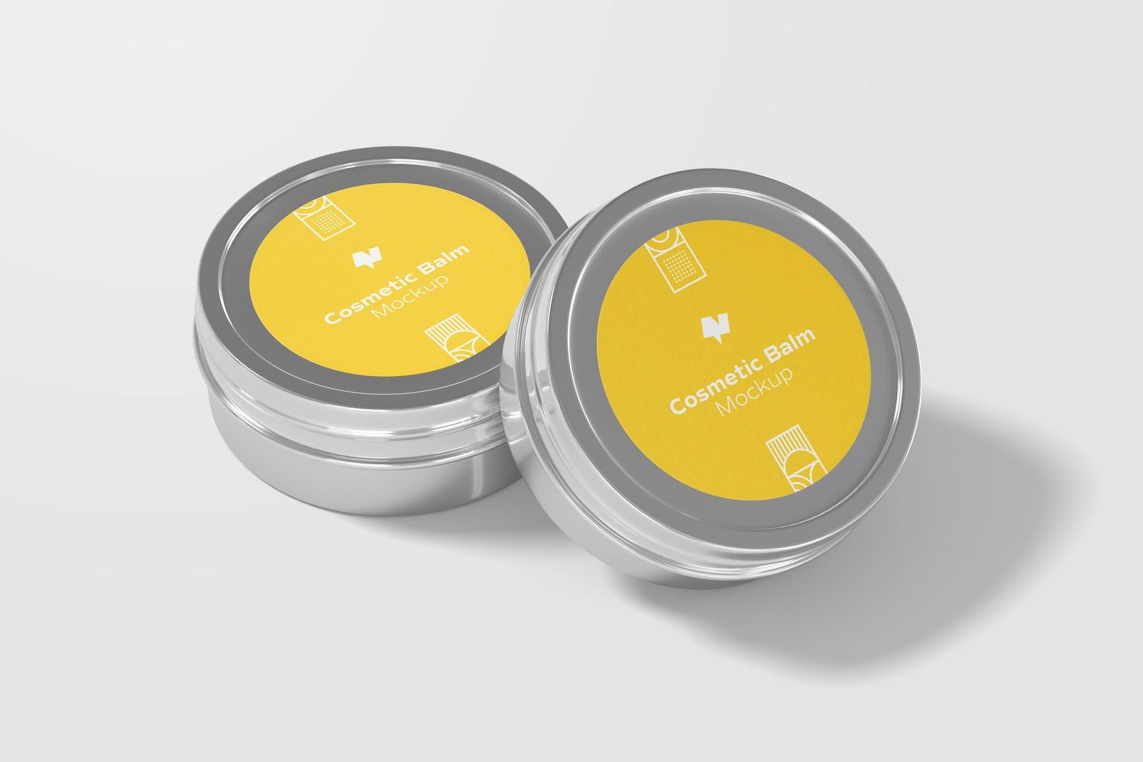 Metallic Cosmetic Balm Packaging Mockup, Closed