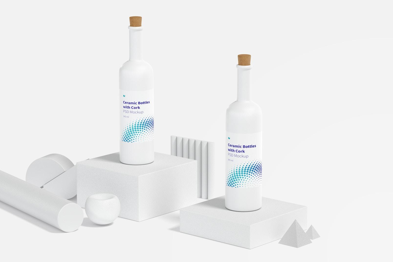 Long Neck Ceramic Bottles with Cork Mockup, Perspective