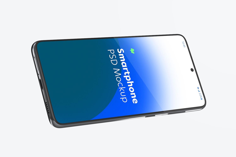 Samsung S21 Mockup, Landscape Floating View