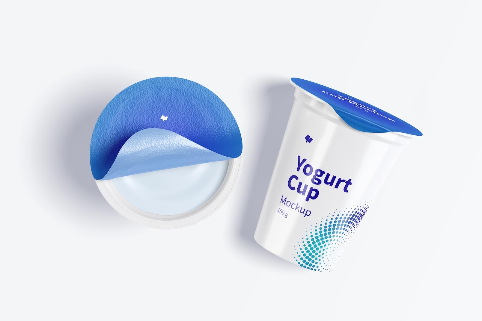 150 g Yogurt Cups Mockup, Top View