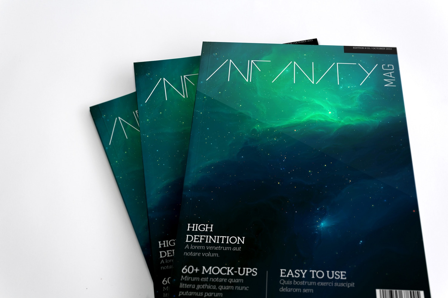 A4 Magazine Mockup Stack Covers 02 by Original Mockups on Original Mockups