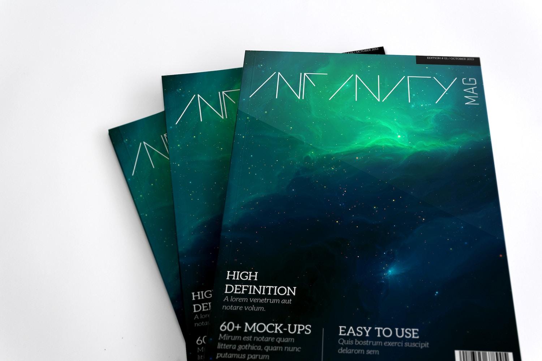 A4 Magazine Mockup Stack Covers 02 by Original Mockups on Original Mockups