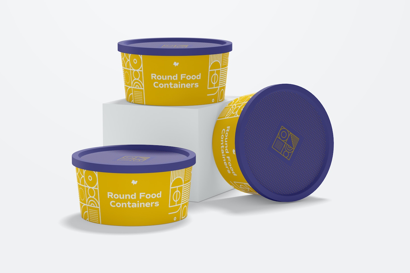 Round Plastic Food Delivery Container Set Mockup
