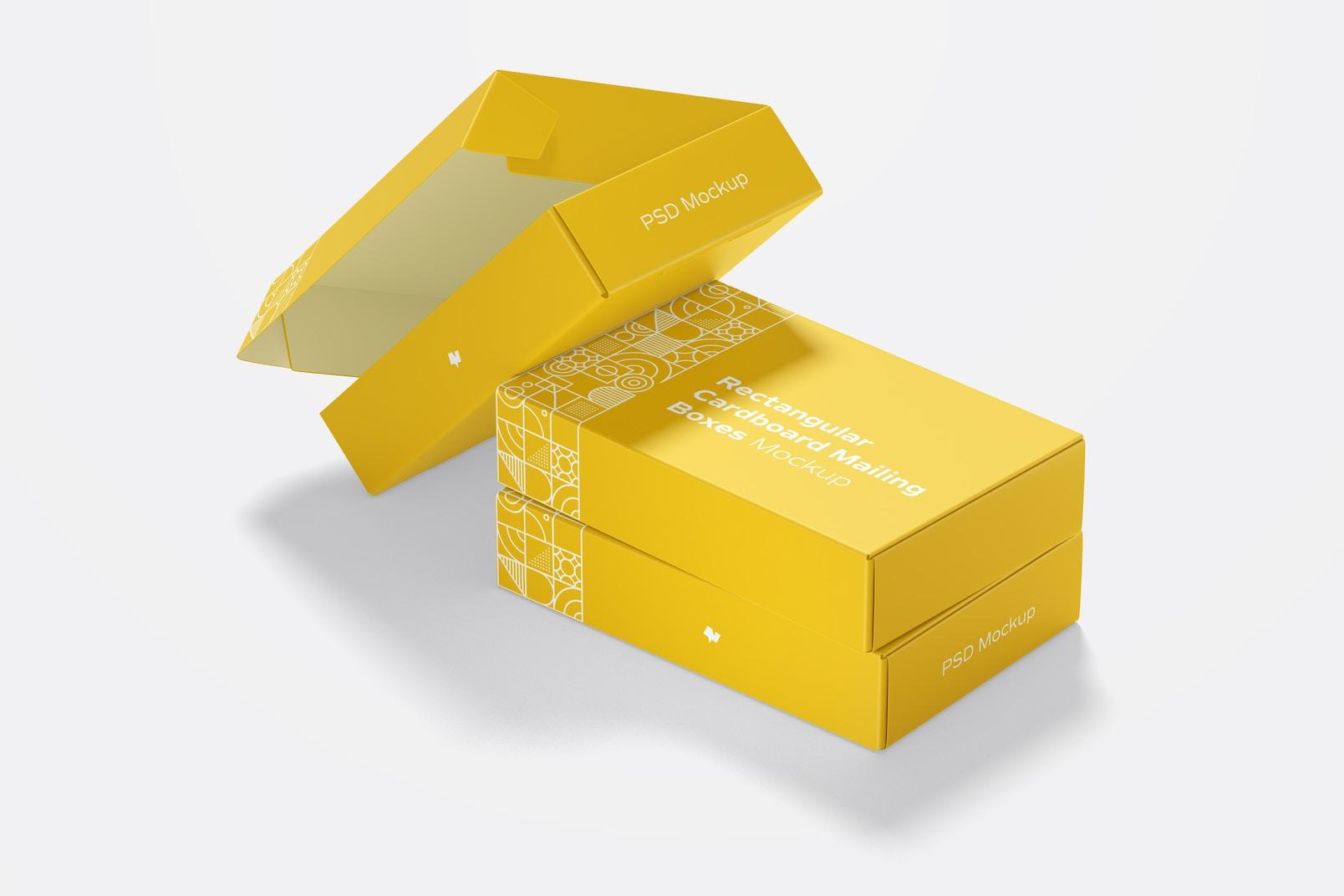 Rectangular Cardboard Mailing Boxes Mockup, Side View