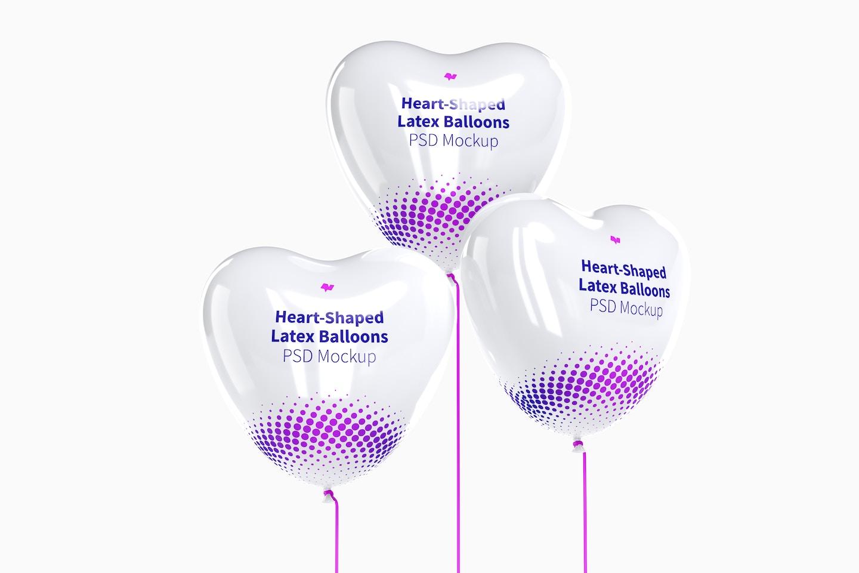 Heart-Shaped Latex Balloons Set Mockup, Front View