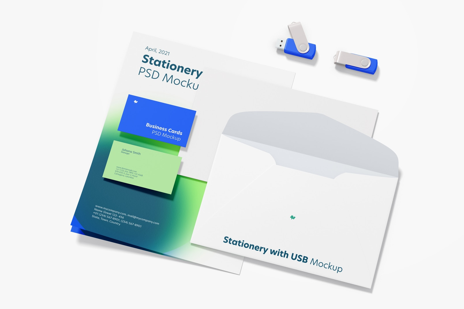 Stationery with USB Flash Drives Mockup 02