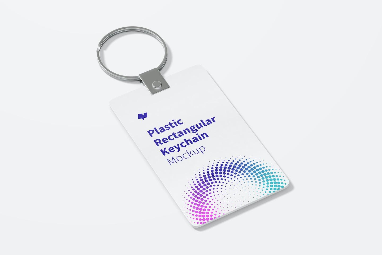 Plastic Rectangular Keychain Mockup