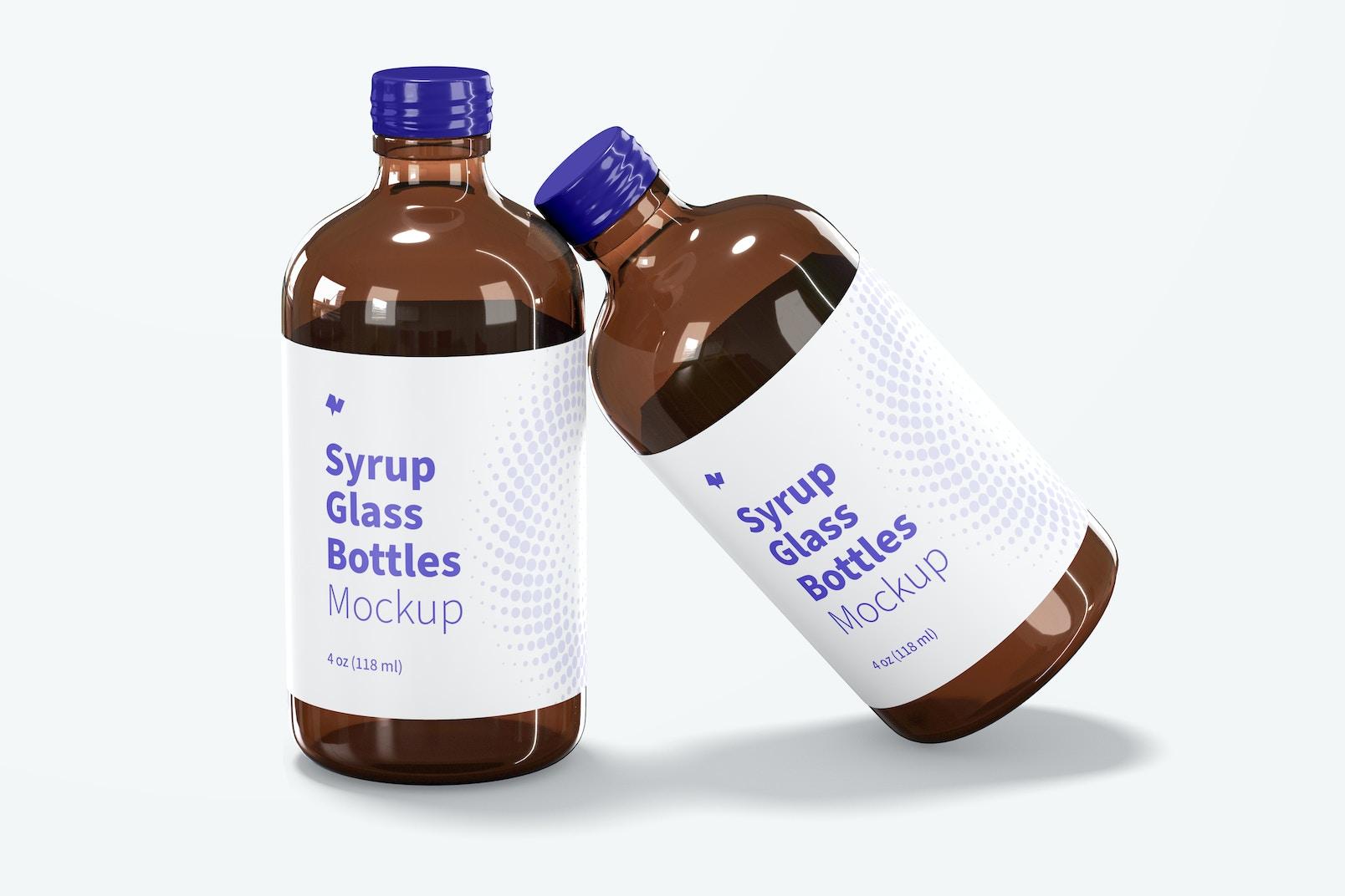 4 oz Syrup Glass Bottles Mockup