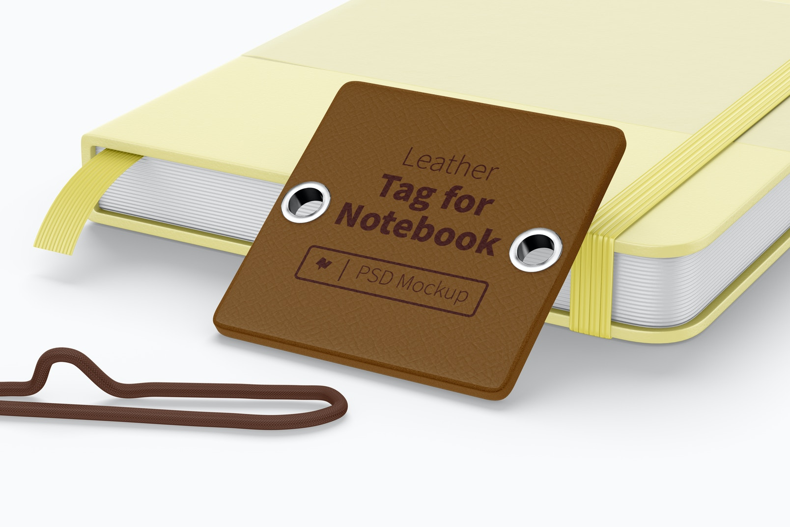 Leather Tag For Notebook Mockup, Leaned
